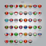 Ensemble de drapeaux brillants ronds des pays souverains de l'Asie illustration de vecteur