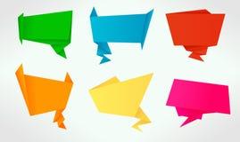 Ensemble de drapeaux d'origami et de bulles de la parole Images libres de droits