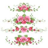Ensemble de drapeaux de roses Image libre de droits