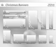 Ensemble de drapeaux de Web de Noël Image stock