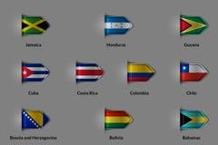 Ensemble de drapeaux sous forme de label ou de repère texturisé brillant Canada Cuba Costa Rica Colombia Chile Bosnia de la Jamaï illustration stock