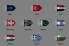 Ensemble de drapeaux sous forme de label ou de repère texturisé brillant L'OTAN Turquie Syrie Suisse AFRIQUE DU SUD Pakistan Isra illustration stock