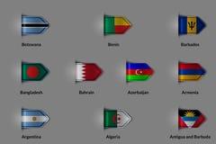 Ensemble de drapeaux sous forme de label ou de repère texturisé brillant Le Botswana Bénin Barbade Bangladesh Bahrain Azerbaïdjan Photographie stock libre de droits