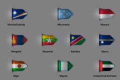 Ensemble de drapeaux sous forme de label ou de repère texturisé brillant Pays Marshall Islands Micronesia Monaco Mongolia Myanmar Photographie stock libre de droits