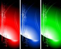 Ensemble de drapeaux techniques lumineux Photos libres de droits