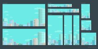 Ensemble de drapeaux de Web Ville de panorama sur le ciel bleu Tailles standard pour annoncer dans les réseaux et des moteurs de  illustration stock