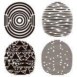 Ensemble de 4 empreintes digitales noires Photo stock