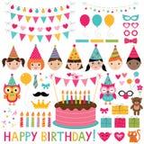 Ensemble de fête d'anniversaire d'enfants Photographie stock libre de droits