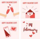 Ensemble de fête de 4 cartes pour la Saint-Valentin Image libre de droits
