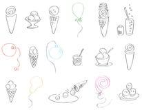 Ensemble de fête de crème glacée et de ballons  Photos stock