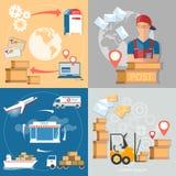Ensemble de facteur de service de bureau de poste de la livraison postale Image stock