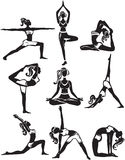 Ensemble de faire des poses de yoga Photo libre de droits