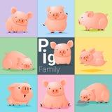 Ensemble de famille de porc Images stock