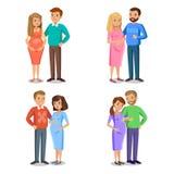 Ensemble de famille typique dans l'amour, parents dans l'expectative, femme enceinte illustration libre de droits