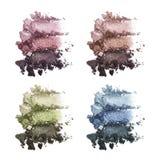 Ensemble de fard à paupières triple multicolore Fard à paupières écrasé photos stock