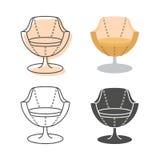 Ensemble de fauteuils de colorfull et de silhouette Photographie stock