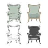 Ensemble de fauteuils de colorfull et de silhouette Image libre de droits