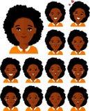 Ensemble de femelle différente de personnes d'afro-américain d'avatar dans le style plat coloré illustration stock