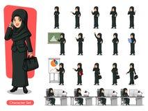 Ensemble de femme d'affaires dans le costume noir avec la conception de personnage de dessin animé de voile Photos libres de droits