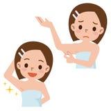 Ensemble de femmes à s'inquiéter des cheveux d'aisselle illustration de vecteur
