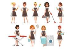 Ensemble de femmes au foyer avec l'équipement différent housekeeper service de nettoyage Jolies femmes portant des robes et le br illustration libre de droits