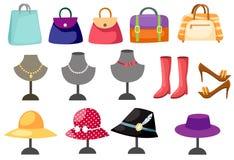 Ensemble de femmes d'accessoires illustration stock