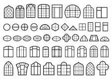 Ensemble de fenêtres classiques et modernes Illustration Libre de Droits