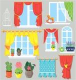 Ensemble de fenêtres, de rideaux et de fleurs dans des pots. Image stock