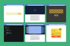 Ensemble de fenêtres du navigateur plates de style avec le contenu Photo stock
