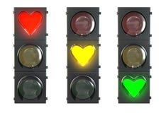 Ensemble de feu de signalisation avec les lampes en forme de coeur Image stock