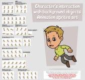 Ensemble de feuille de lutins d'animation de caractère de garçon de bande dessinée Image stock