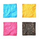 Ensemble de feuilles de papier chiffonnées d'isolement Photographie stock libre de droits