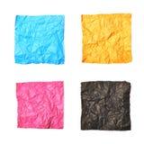 Ensemble de feuilles de papier chiffonnées d'isolement Photos stock