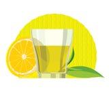 Ensemble de feuilles de thé vertes, tasse, verre Photo libre de droits