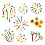 Ensemble de feux d'artifice colorés lumineux et de salut Photographie stock libre de droits