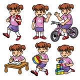Ensemble de fille d'école dans diverses poses et activités illustration stock