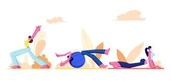 Ensemble de fille de séance d'entraînement Jeunes femmes sportives portant faire d'habillement de sport gymnastique, forme physiq illustration libre de droits