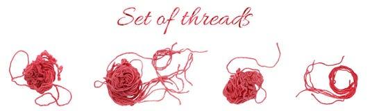 Ensemble de fils roses de coton pour le crochet ou tricoter, broderie d'isolement sur le fond blanc Images libres de droits
