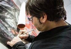 Toile de signature d'huile d'artiste de peintre Photos stock
