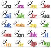 Ensemble de fins d'adresse de Domain Name de site Web avec la flèche image stock
