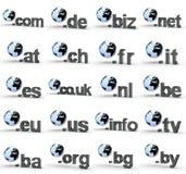 Ensemble de fins d'adresse de Domain Name de site Web avec le globe photo libre de droits