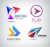 Ensemble de flèches abstraites de calibre de conception d'icône de logo d'affaires, signes dynamiques d'origami Images libres de droits