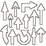 Ensemble de flèches blanches des pixels avec une course noire Photographie stock libre de droits