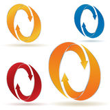Ensemble de flèches circulaires avec des rayures Image libre de droits