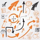 Ensemble de flèches de croquis de vecteur et d'autres symboles pour Images stock