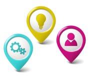 Ensemble de flèches indicatrices 3D rondes Images libres de droits