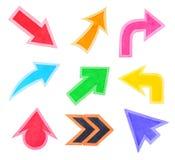 Ensemble de flèches ou de curseurs colorés Photo libre de droits
