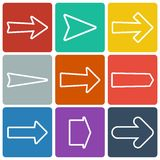 Ensemble de flèches plates colorées Photo stock