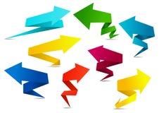 Ensemble de flèches pliées colorées d'origami Photographie stock libre de droits