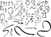 Ensemble de flèches tirées par la main et d'autres éléments, sur le blanc Illustration de vecteur Images libres de droits
